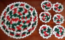 VINTAGE CROCHET CHRISTMAS DOILY AND COASTER SET - $7.99