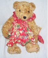 BEARLY PEOPLE Collectible Jointed Bear Plush Wearing Dress with Sunflowe... - $29.96