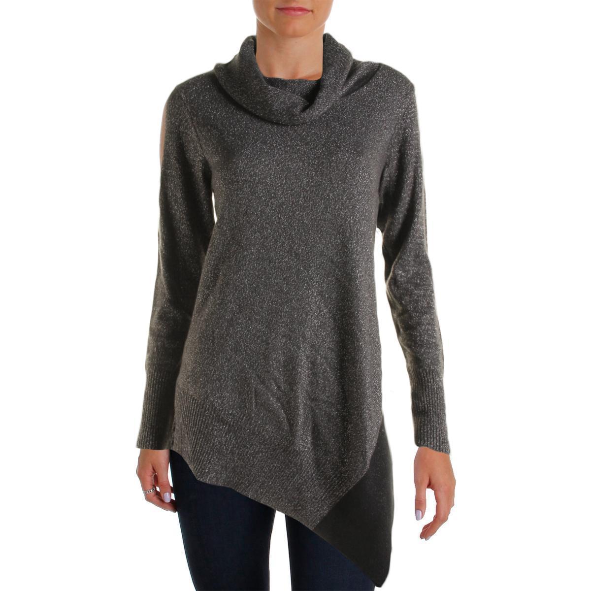 Alfani Women Cowl Neck, Asymmetrical Sweater, Gray, Plus 0X