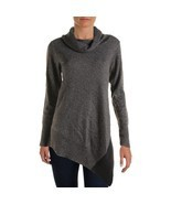 Alfani Women Cowl Neck, Asymmetrical Sweater, Gray, Plus 0X - $29.70