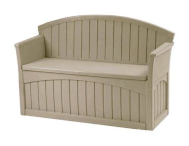 Patio storage bench plastic box 2 seats outdoor furniture for Outdoor plastic bench seats