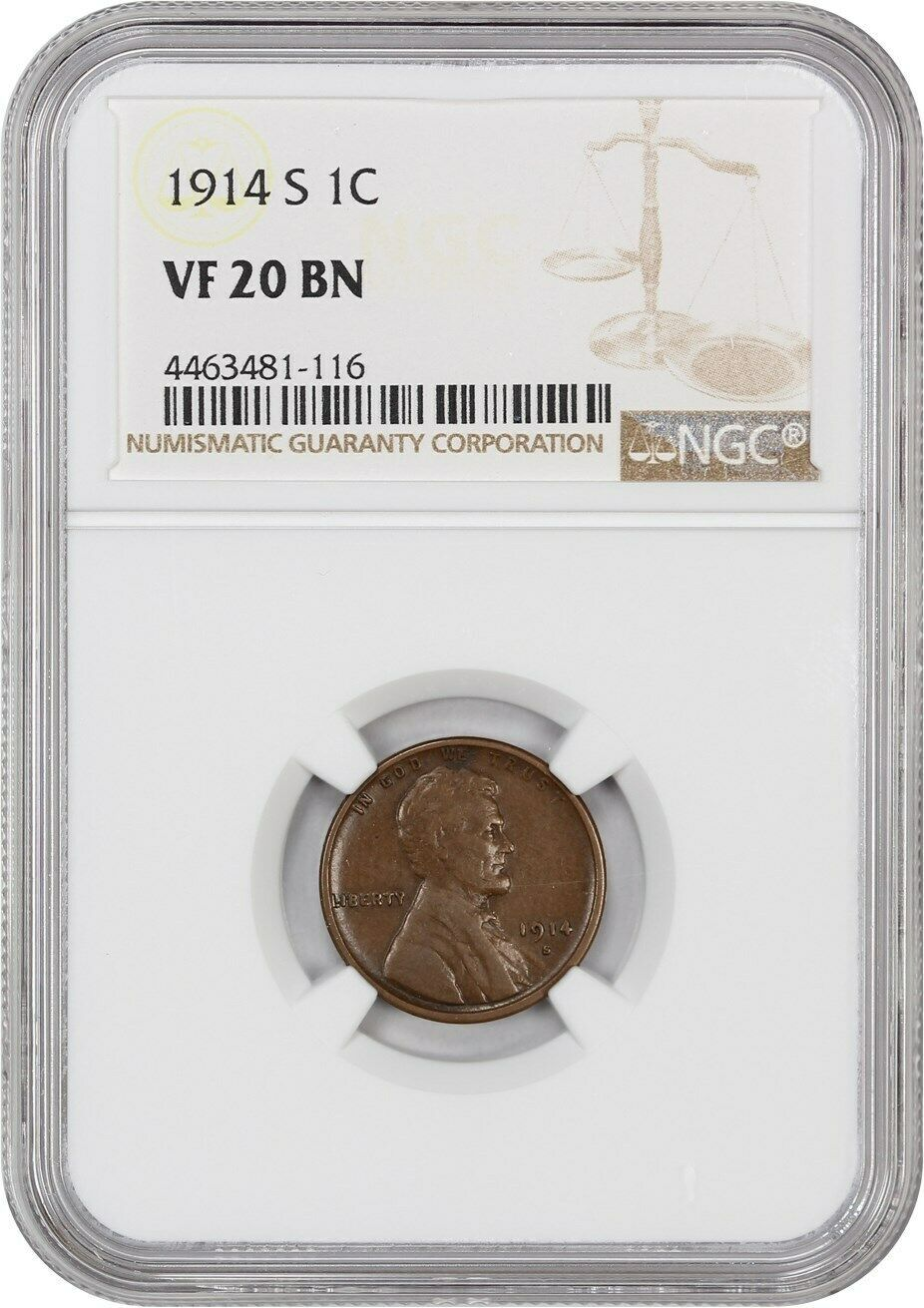 1914-S 1c NGC VF20 BN - Lincoln Cent