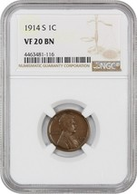1914-S 1c NGC VF20 BN - Lincoln Cent - $43.65