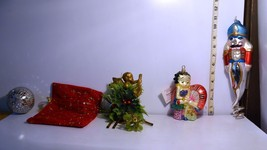 Mixed Christmas Ornaments Betty Boop, Nutcracker, Angel, Holly, Ball & Bag - $18.38