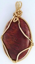 Red Flame Moss Agate Gold Wire Wrap Pendant 60 - $43.00