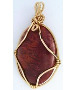Red Flame Moss Agate Gold Wire Wrap Pendant 60 - $22.95