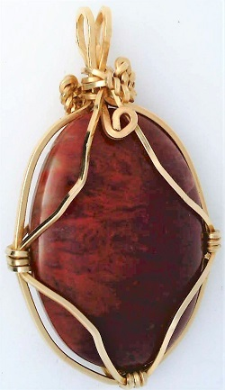 Red Flame Moss Agate Gold Wire Wrap Pendant 60