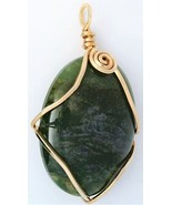 Green Moss Agate Gold Wire Wrap Pendant 40 - $22.95