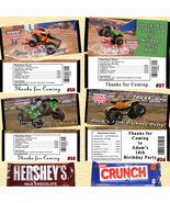 Monster Jam Trucks Birthday Candy Wrappers 10 ea Personalized Custom Made - $10.00