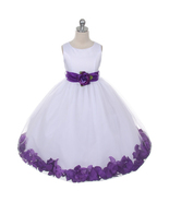 White Dress Purple Sash and Flower Petals Bridesmaid Pageant Flower Girl... - $48.00+