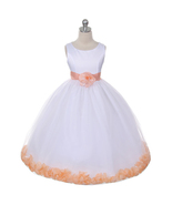White Dress Peach Sash and Flower Petals Bridesmaid Pageant Flower Girl ... - $48.00+