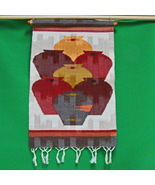 Vintage Textile Art Wall Hanging Showing Vases In Various Colors - $9.95