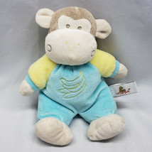 "Unipak Monkey Stuffed Plush Baby Toy Rattle Blue Yellow Banana 8"" - $29.69"