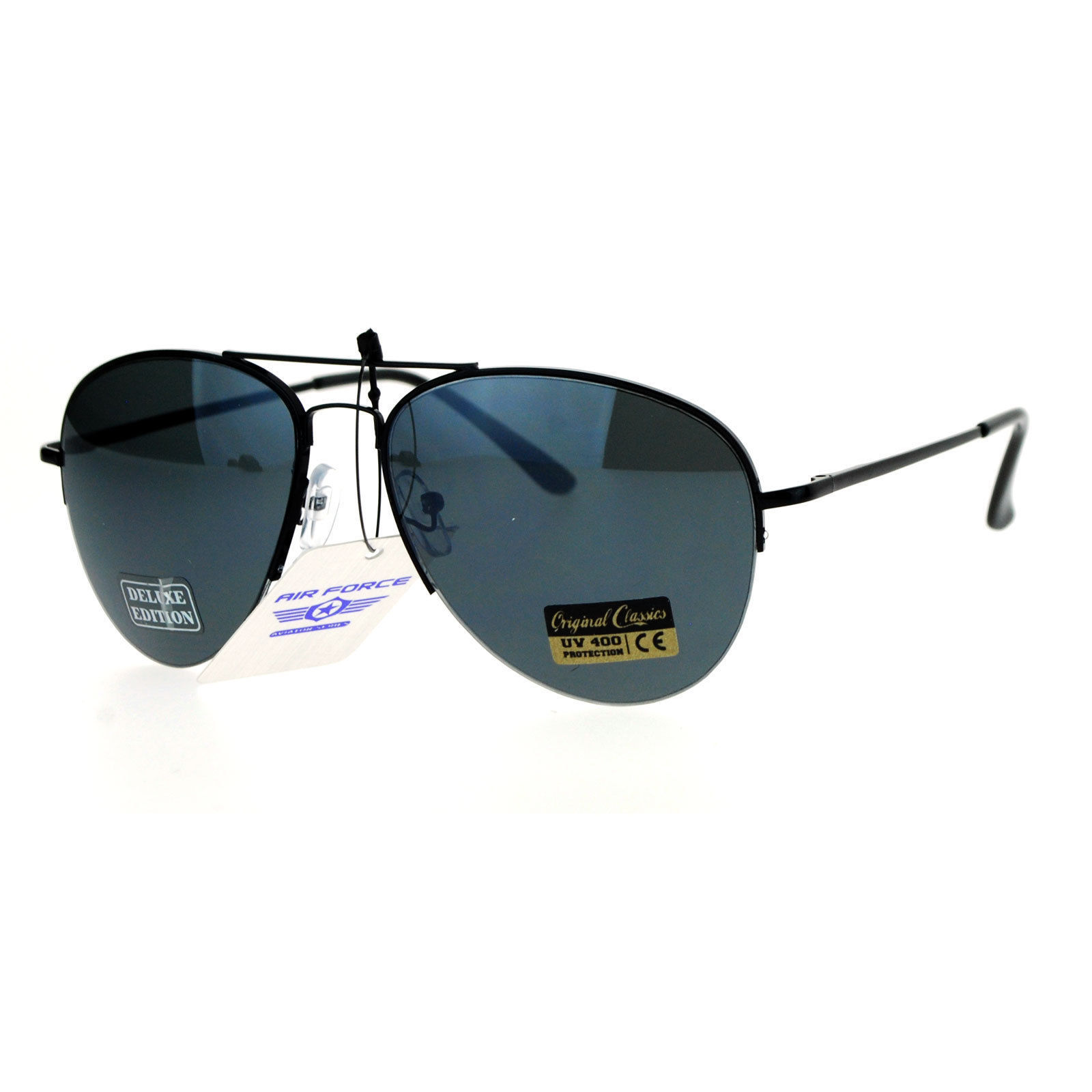 Air Force Aviator Sunglasses Unisex Half Rim Spring Hinge Classic Aviators
