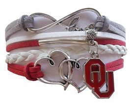 University of Oklahoma OU Sooners Fan Shop Infinity Hearts Bracelet Jewelry - $12.99