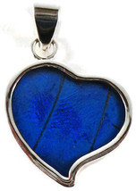 """Corazon"" Heart Shaped Butterfly Wing Pendant~Sterling Silver~DeepBlue17... - $69.95"