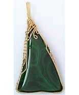 Malachite Gold Wire Wrap Pendant 5 - $44.00