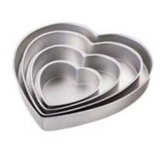 Wilton Decorator Preferred Heart 4 pc Cake Pan Aluminum 6 10 12 14 In Pa... - ₨3,903.94 INR