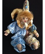 """Pierrot Clown Doll 9"""" Blue And Gold - €8,80 EUR"""