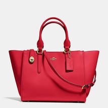 Coach Crosby Light Gold/Red Smooth Leather Zip Top Closure Carryall/Handbag - $579.99