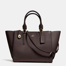 Coach Crosby Light Gold/Brown Smooth Leather Zip Top Closure Carryall/Ha... - $579.99
