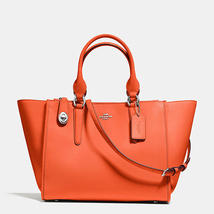 Coach Crosby Silver/Coral Calf Leather Zip Top Closure Carryall/Handbag - $579.99