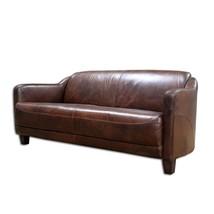 Vintage Style Cigar Leather Art Deco Retro Sofa Top Grain Leather - $1,975.05
