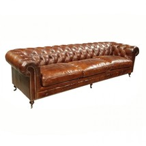 """116"""" Sofa Brown Cigar Vintage Italian Soft Tufted Leather Classic Chesterfield - $4,846.05"""