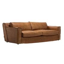 Fabulous High Back Cuba Cigar Brown Top Grain Leather Sofa,88''L x 31''H. - $3,856.05