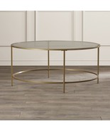 Glass Top Round Coffee Table Stainless Steel Base Living Room Furniture,... - $193.05
