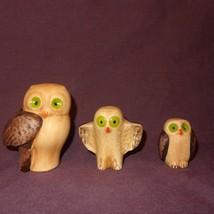 "Vintage Set (3) Owls Brown Green Eyes 3"" Cerami... - $19.78"