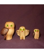 "Vintage Set (3) Owls Brown Green Eyes 3"" Ceramic Portugal - $19.78"