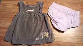 Girl's Size NB Newborn Two Piece Classic Pooh Bear Gray Velveteen Dress ... - $13.00