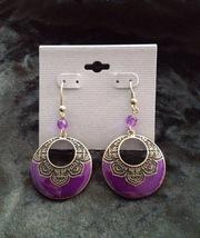lavender colored dangling hoops pierced earrings - $19.99