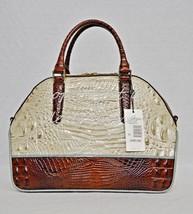 NWT Brahmin Hudson Satchel/Shoulder Bag in Linen Tri-Texture Beige, Pecan & Teal image 2