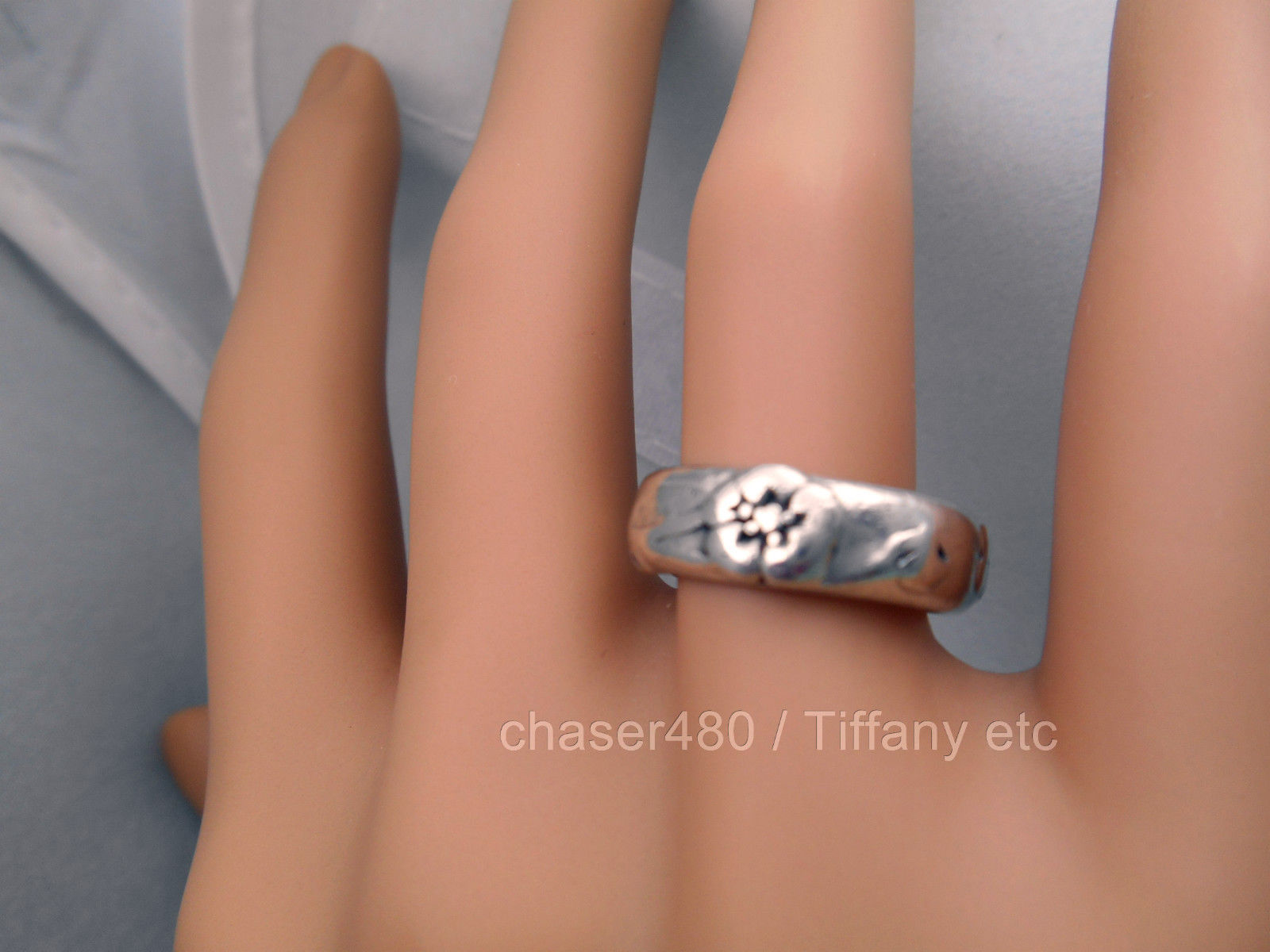 TIFFANY & Co. Nature Rose Flower Ring  Rare - Sterling Silver Sz 5.5