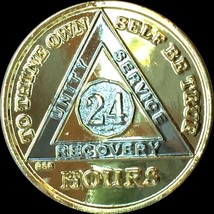 24 Hours Gold Plated AA Alcoholics Anonymous Medallion Bi-Plate Sobriety... - $17.33