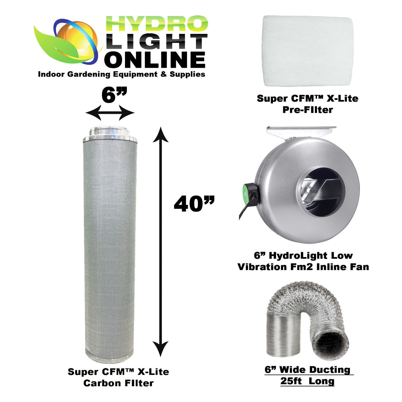 6 carbon filter inline fan kit odor scrubber for Indoor gardening machine