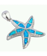 Starfish 925 Sterling Silver Blue Fire Opal pendant with 925 SS Chain US... - $39.99