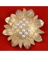 Vintage Sunflower Pin Faux White Pearl Seed New... - $9.99