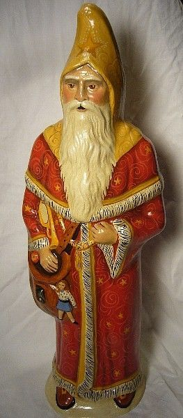 VAILLANCOURT FOLK ART RED&GOLD FATHER CHRISTMAS VERY LG PEarSONALLY SIGNED JUDI