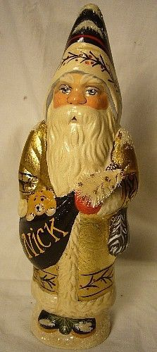 VAILLANCOURT FOLK ART SANTA GOLD COAT  SIGNED  BY JUDI