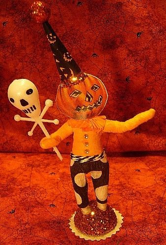 VINTAGE INSPIRED  HALLOWEEN PUMPKIN MAN NO. 235, SPUN COTTON