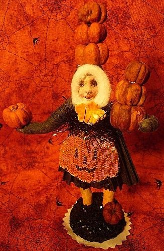 VINTAGE INSPIRED PUMKPIN PATCH GIRL HALLOWEEN AUTUMN FALL!NO. 222 SPUN COTTON!