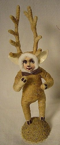 VINTAGE INSPIRED DEER CHILD NO. 328 SPUN COTTON CHRISTMAS NATURE WINTER PUTZ