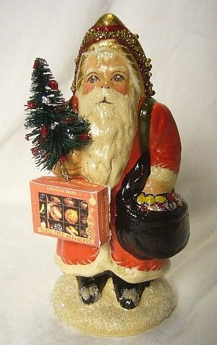 VAILLANCOURT FOLK ART ORNAMENT DELIVERY SANTA  SIGNED