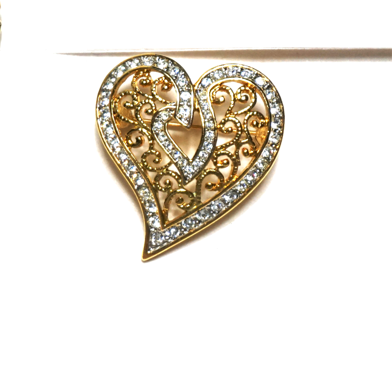 Primary image for Vintage Gold Plated Dipped Heart Pave Crystal Rhinestone Brooch Pin Filigree