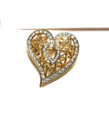 Vintage Gold Plated Dipped Heart Pave Crystal Rhinestone Brooch Pin Fili... - $27.01
