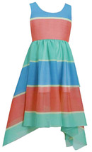 Bonnie Jean Little Girl 2T-6X  Colorblock Stripe Chiffon Hanky Hem Maxi Dress