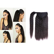 Loxxy Kinkys Straight Human Hair Ponytail For Black Women Wrap Around Natural Bl